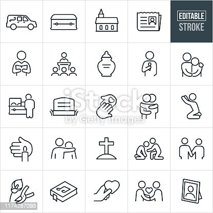 A set of funeral icons that include editable strokes or outlines using the EPS vector file. The icons include a hearse, casket, church, obituary, pastor, eulogy, urn, speaker, person with arm around the shoulder of another person, person grieving, deceased, headstone, helping hand, two people hugging, person praying, candle vigil, grave, gravesite, two people holding hands, flowers, song book, condolences and a picture frame to name a few.
