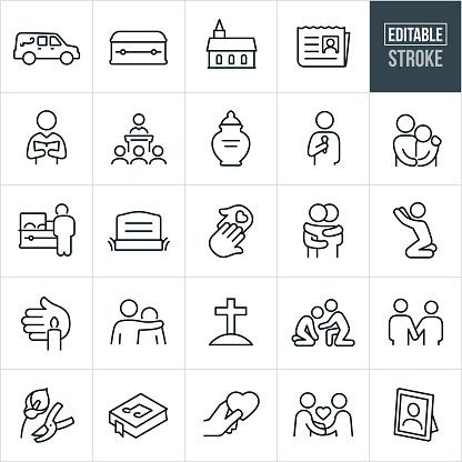 Funeral Thin Line Icons - Ediatable Stroke
