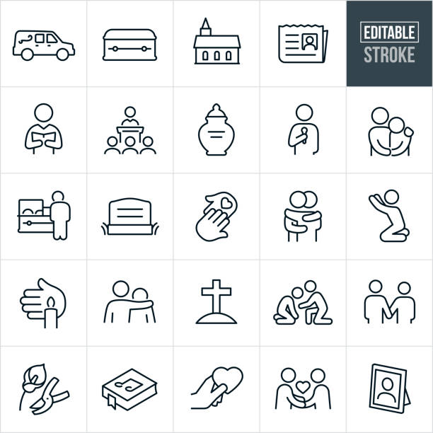 Funeral Thin Line Icons - Ediatable Stroke A set of funeral icons that include editable strokes or outlines using the EPS vector file. The icons include a hearse, casket, church, obituary, pastor, eulogy, urn, speaker, person with arm around the shoulder of another person, person grieving, deceased, headstone, helping hand, two people hugging, person praying, candle vigil, grave, gravesite, two people holding hands, flowers, song book, condolences and a picture frame to name a few. dead stock illustrations