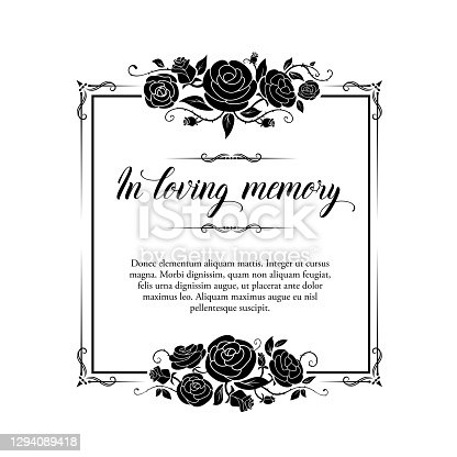 istock Funeral vector card, retro frame with rose flowers 1294089418