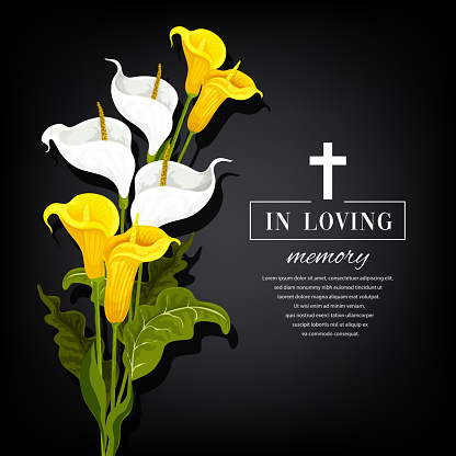 Funeral vector card with calla flowers, sorrowful