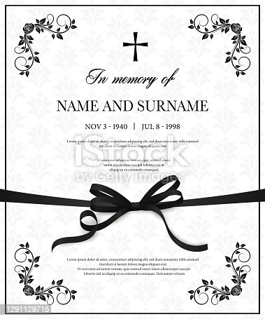 istock Funeral vector card with vintage obituary template 1291129715
