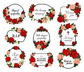 Funeral vector frames with mourning sketch flowers, sincere condolence, rest in peace, deepest sympathy typography. Obituary mournful funereal oval, round, rectangular borders with engraved blossoms