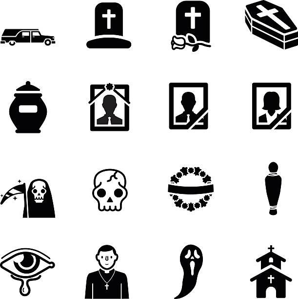 stockillustraties, clipart, cartoons en iconen met funeral vector icon set - funeral crying