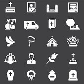 Funeral White Silhouette Icons | EPS10