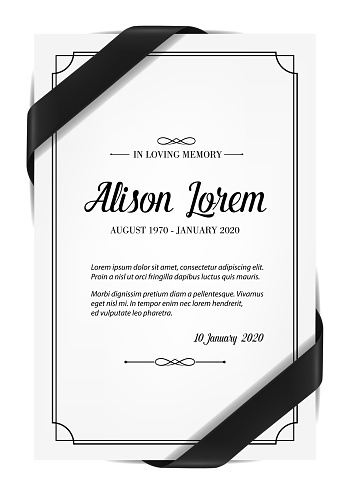 Funerary card with obituary condolence and mourning ribbon. Obituary card layout, mortuary plate vector template, sepulchral plaque with in memoriam necrologue and black silk ribbon over corners