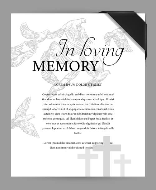 Funereal card vector template with ribbon and bird Funereal card design template with black mourning ribbon on corner, cemetery graves crosses and flying doves engraved vector. Funeral ceremony invitation or memorial plate with obituary condolences memories stock illustrations