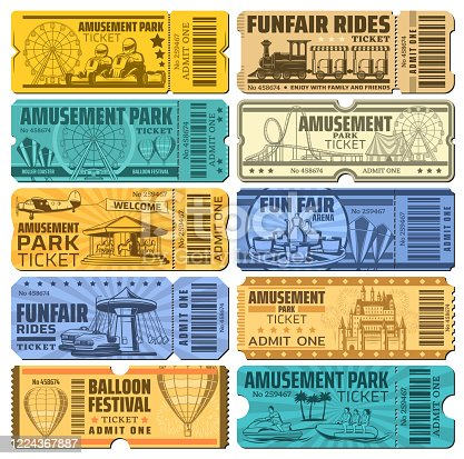 Amusement park tickets , funfair carnival and rides vector admits. Hot air balloons show and karting rides, rollercoaster and kids train, ferris wheel and summer aquapark water amusements