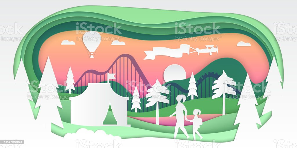 Funfair - vector paper cut illustration royalty-free funfair vector paper cut illustration stock vector art & more images of arts culture and entertainment