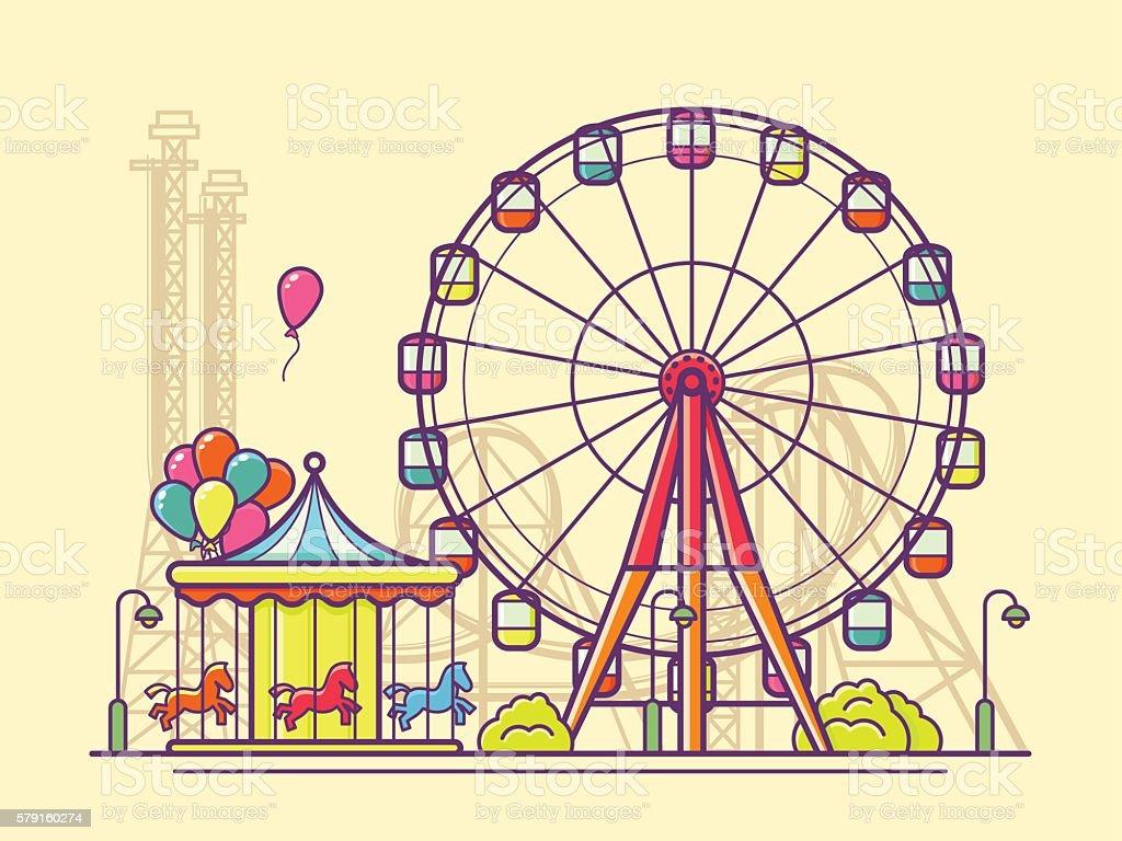 Funfair with ferris wheel vector art illustration