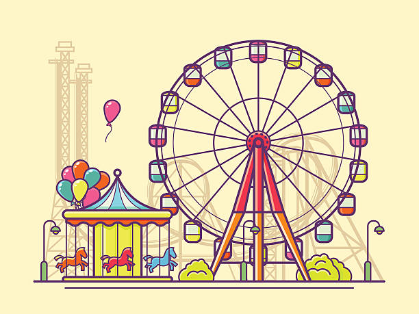 Funfair with ferris wheel Funfair with ferris wheel. Amusement and carnival, carousel in park, vector illustration agricultural fair stock illustrations
