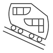 Funicular railway thin line icon, Public transport concept, cable-railway sign on white background, cableway icon in outline style for mobile concept and web design. Vector graphics