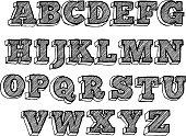 Hand drawn funky alphabet