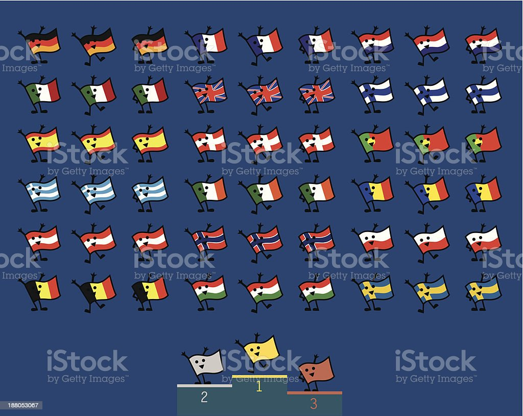 Funky and Cool European Flags Characters royalty-free stock vector art