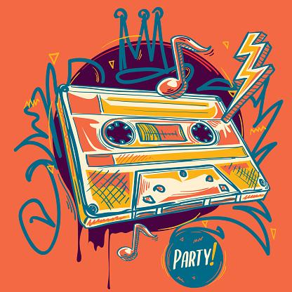 Funky audio cassette, colorful music design