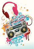 music theme - boom box on modern funky background, vector artwork