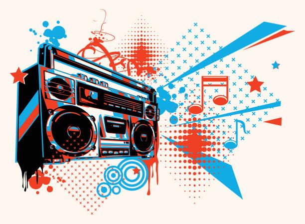 illustrazioni stock, clip art, cartoni animati e icone di tendenza di funky boombox music graffiti - sfondo graffiti