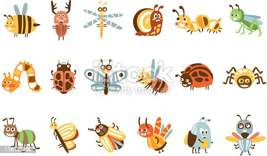Funky Bugs And Insects Set Of Small Animals With Smiling Faces And Stylized Design Of Bodies. Friendly Childish Creative Micro Fauna Prints In Bright Cartoon Colors On White Background.