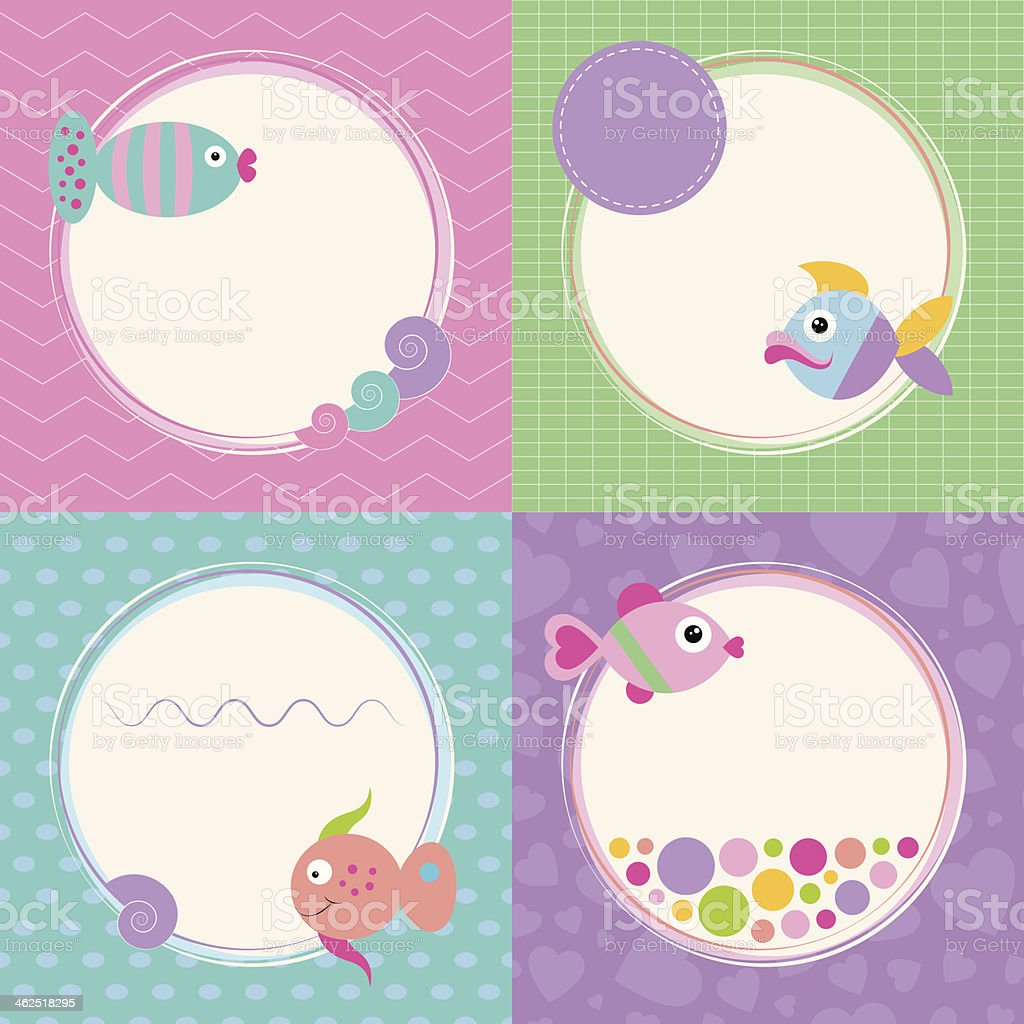 Funky cartoon fish greeting cards collection stock vector art more funky cartoon fish greeting cards collection royalty free funky cartoon fish greeting cards collection stock m4hsunfo