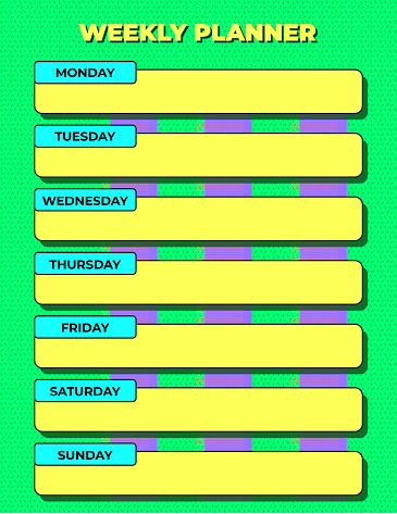Funky Color Block Weekly Planner or Diary Agenda Template in Bright Green Yellow and Purple