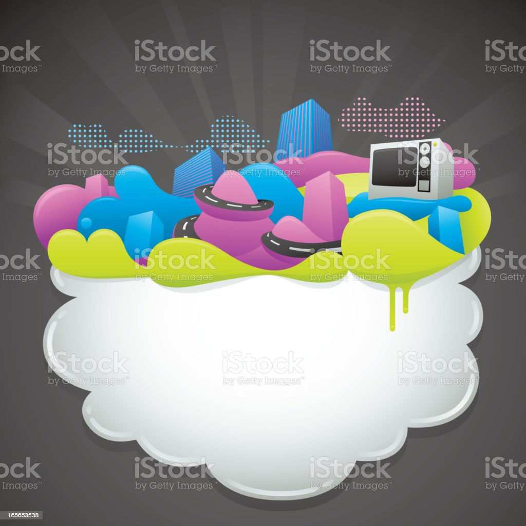 Funky Color Cloud Frame royalty-free stock vector art