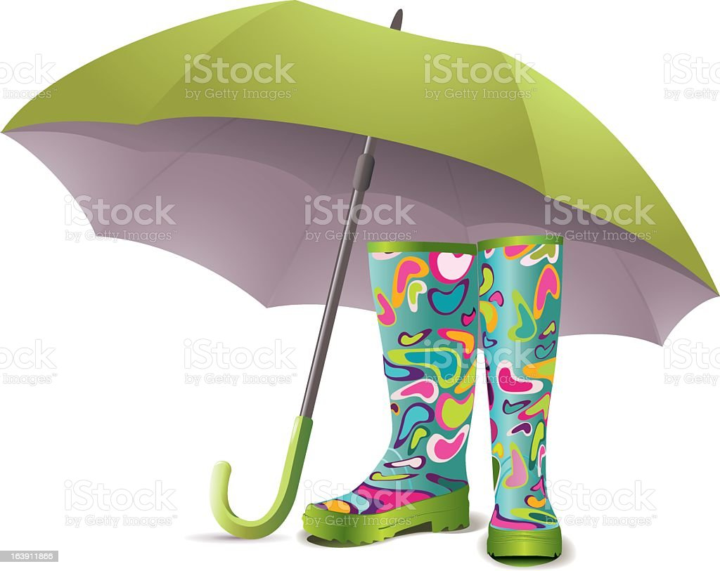 Funky colored Wellington boots and chartreuse open umbrella vector art illustration