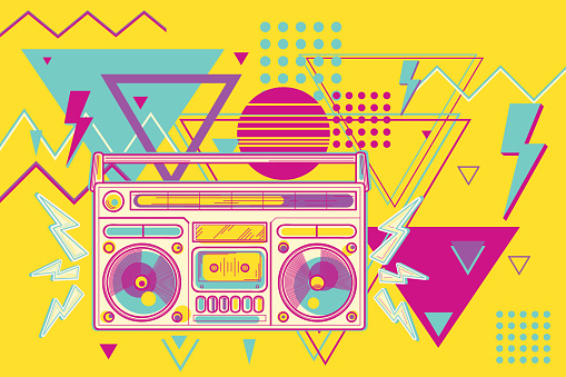 Funky colorful 80s music design boombox
