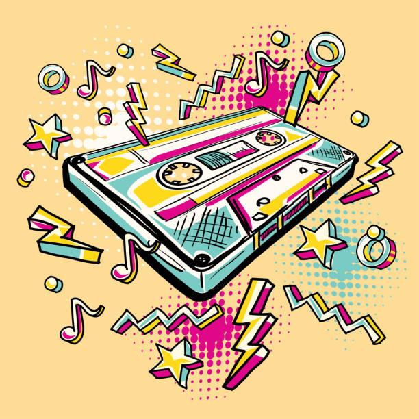 ilustrações, clipart, desenhos animados e ícones de funky colorida desenhada gaveta audio - fita cassete