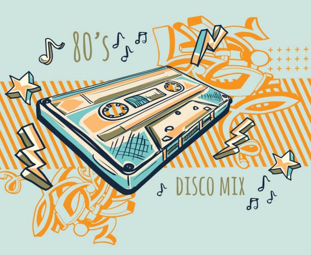 bildbanksillustrationer, clip art samt tecknat material och ikoner med funky färgglada ritade ljudkassett - hip hop poster