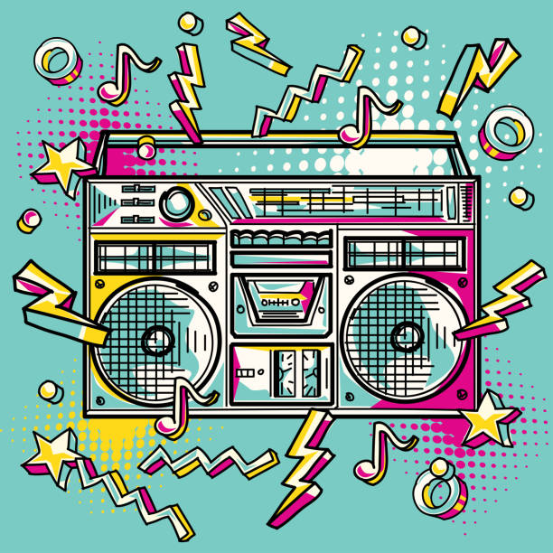Funky colorful drawn boom box decorative vector artwork youth culture stock illustrations