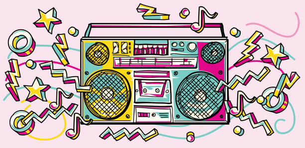 illustrations, cliparts, dessins animés et icônes de boombox dessinée coloré funky - hip hop