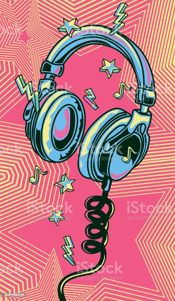 Auriculares musical dibujados coloridos funky - ilustración de arte vectorial