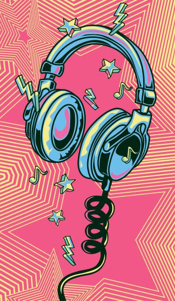 funky colorful drawn musical headphones - graffiti backgrounds stock illustrations, clip art, cartoons, & icons