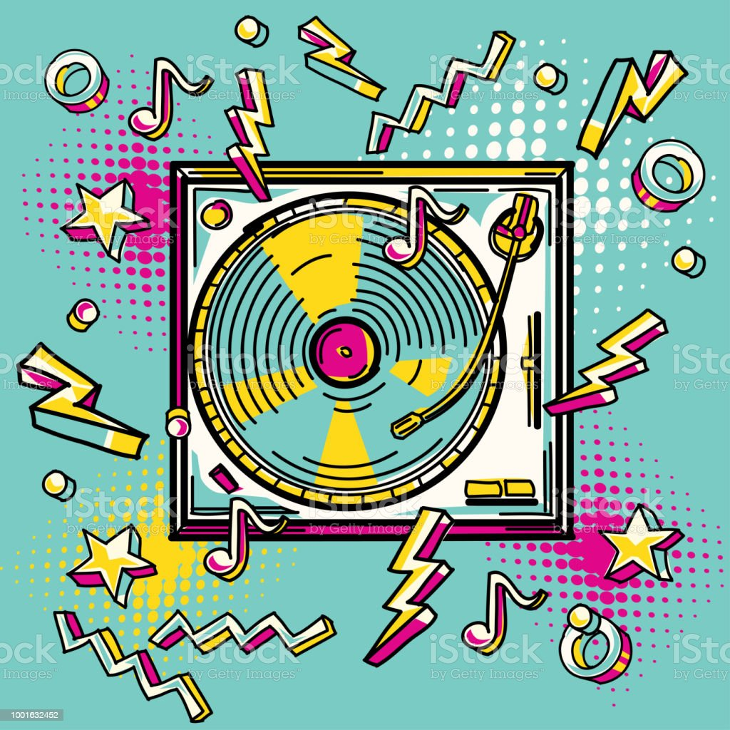 funky colorful drawn turntable stock vector art more images of
