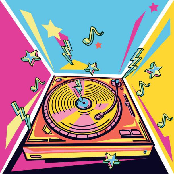 bildbanksillustrationer, clip art samt tecknat material och ikoner med funky färgglad musik design-skivskiva - hip hop poster