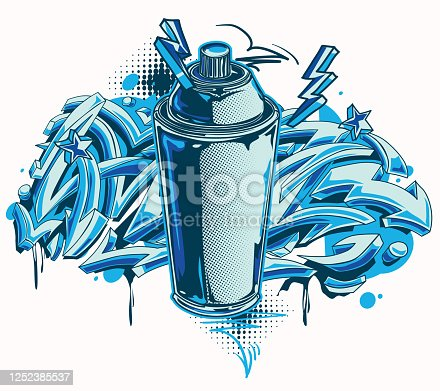 Funky colorful spray can and arrows on graffiti background