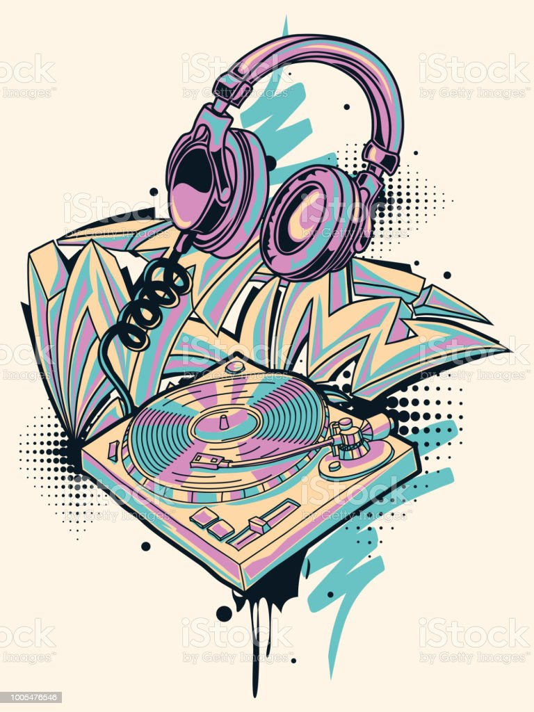 Funky colorful turntable headphones and graffiti arrows royalty free funky colorful turntable headphones and
