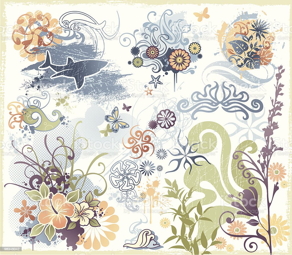 Funky Design Elements of Sharks, Flowers and Beach Themes royalty-free funky design elements of sharks flowers and beach themes stock vector art & more images of animal