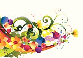 bright trendy floral background, vector artwork