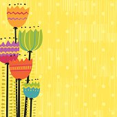 Vector illustration of funky colorful flowers.