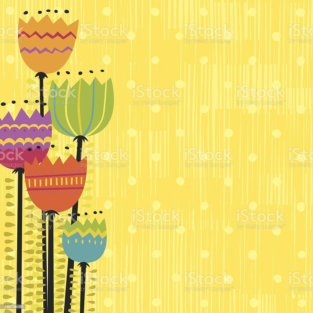 Funky flowers vector art illustration