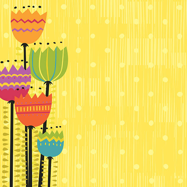 Funky flowers vector art illustration