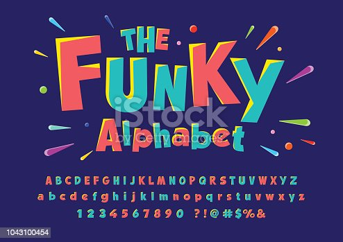 Colorful stylized font and alphabet