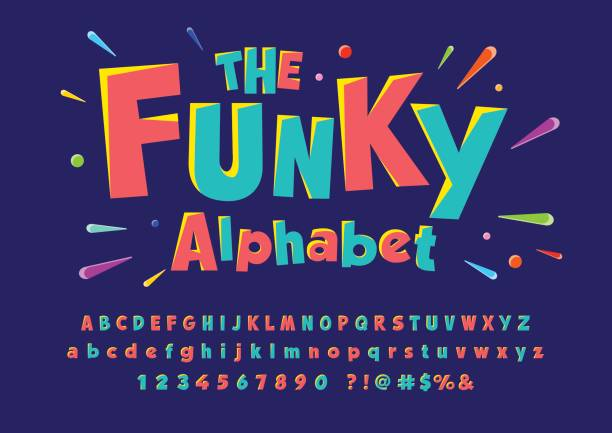 Funky font Colorful stylized font and alphabet funky stock illustrations