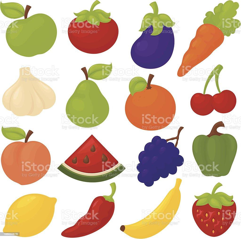 Funky Fruit and Veg royalty-free stock vector art