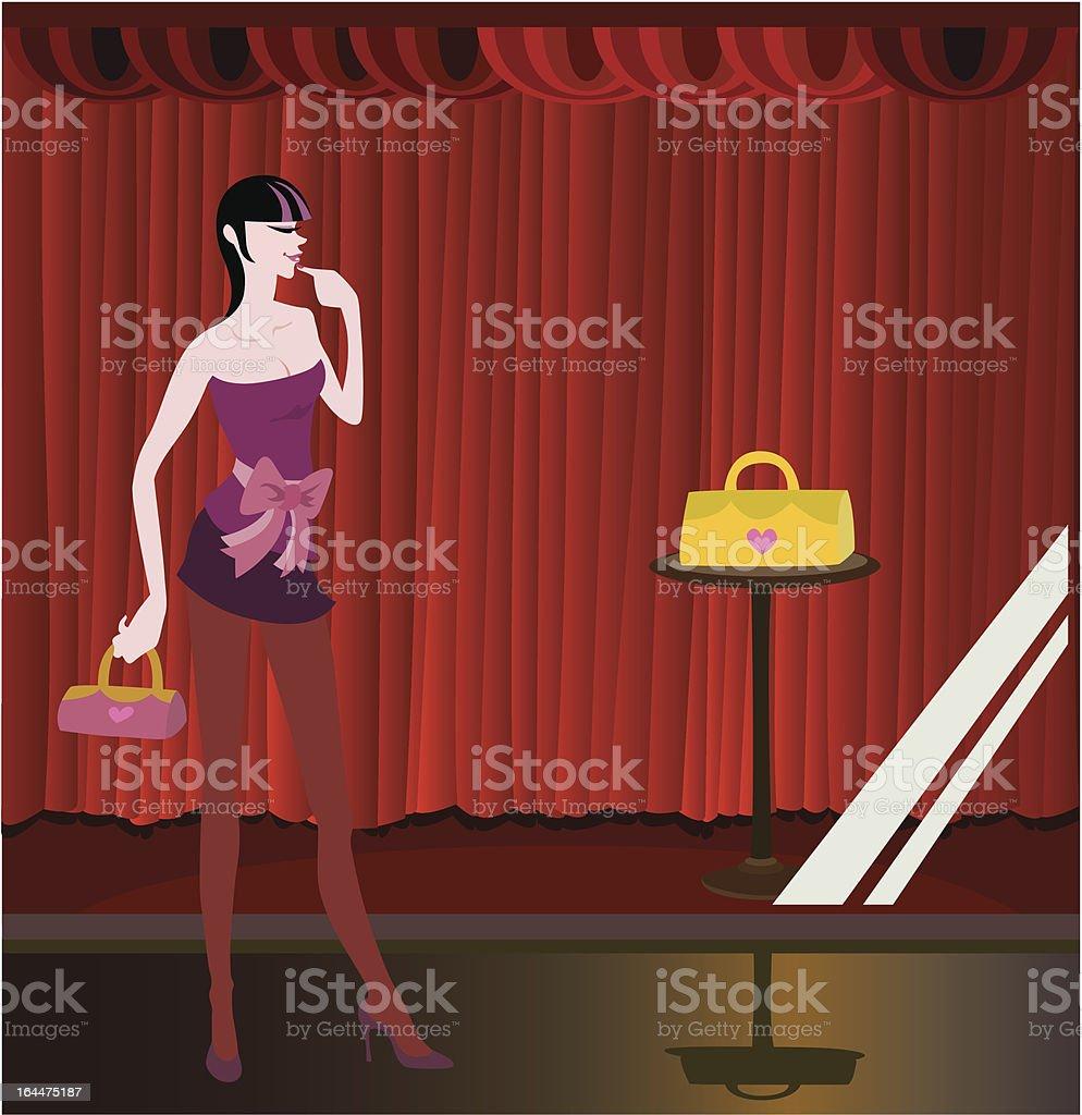 funky girl go night shopping royalty-free stock vector art