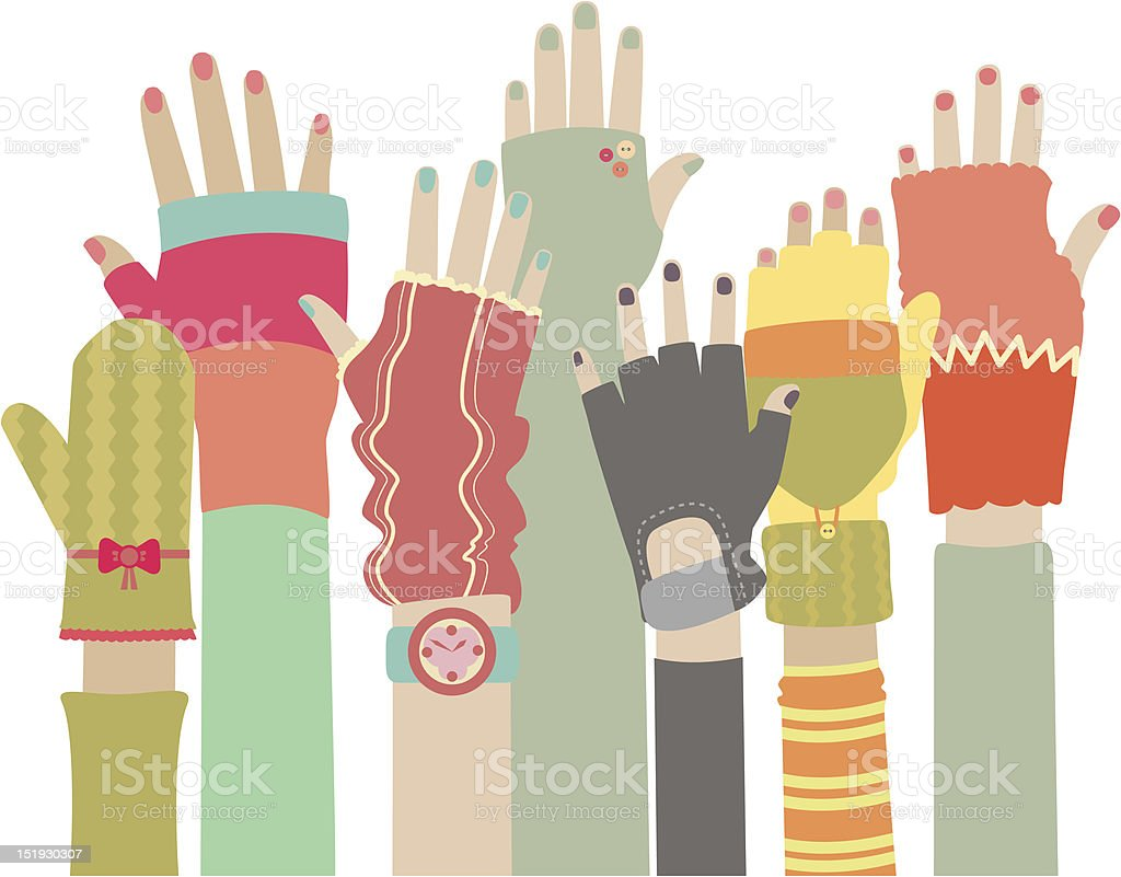 Funky gloves royalty-free stock vector art