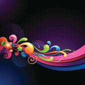 Funky Graphic Wave with Swirls