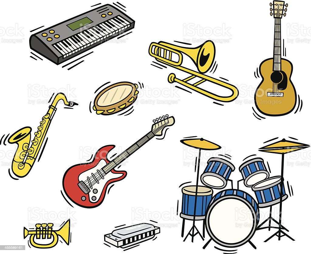 Funky Instruments vector art illustration