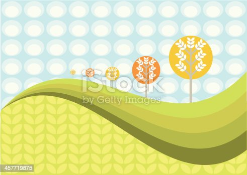 Abstract retro-modern landscape scene. Trees on a hill with copy space.